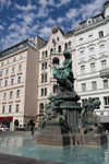 Donnerbrunnen Fountain, featuring a bronze statue of Providentia, by  Georg Raphael Donner.