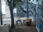 Just a place to chill on a love seat or silver sprayed tire swing.